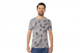 Imagem - Camiseta Masculina Manga Curta Gola Redonda Mescla Com Estampa Folhas