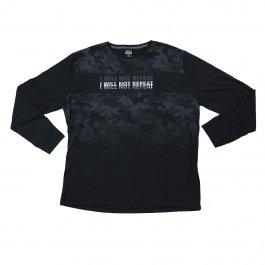 Imagem - Camiseta Plus Size Masculina Manga Longa Gola Redonda Estampada Preta