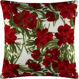 Imagem - Capa de Almofada Gorgorinho Vermelho Floral 45x45