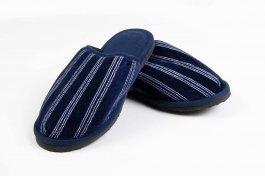 Imagem - Chinelo Pantufa Masculino em Plush c/ Solado em EVA Marinho Listrado