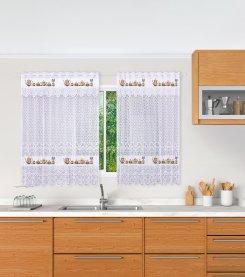 Imagem - Cortina De Cozinha Em Renda  Stella Com Babado e Barra Estampado 130Ax230L