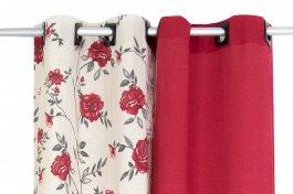 Imagem - Cortina Primavera Lisa e Estampada Vermelha 230AX300L