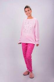 Imagem - Pijama em Moletinho Rosa com Estampa