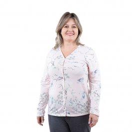 Imagem - Pijama Feminino Longo com Botões Estampa Floral