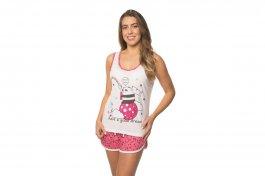 Imagem - Pijama Feminino Off White Estrela