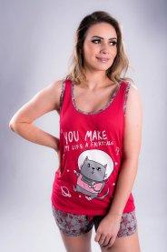 Imagem - Pijama Feminino Vermelho Rosado Estapa Gatinho