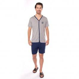 Imagem - Pijama Masculino Mescla com Abertura Frontal