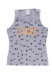 Imagem - Regata Cotton Juvenil Menina Estampa Love