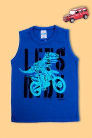 Imagem - Regata Infantil Menino Estampada Moto Dino