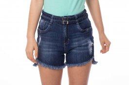 Imagem - Short Jeans Feminino com Dois Cintos e Barra Desfiada