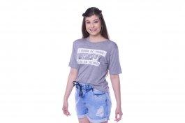 Imagem - Short Jeans Feminino com Elástico, Cordão e Barra Dobrada