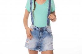 Imagem - Short Jeans Feminino com Suspensório
