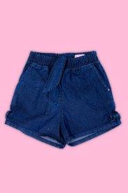 Imagem - Short Jeans Infantil com Aplique e Laço