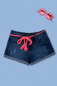 Imagem - Short Jeans Juvenil Menina Com Barra Virada