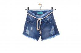 Imagem - Short Jeans Juvenil Menina com Cordão e Barra Desfiada
