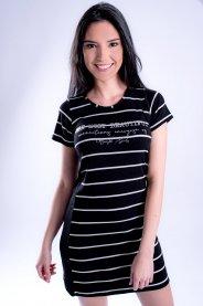 Imagem - Vestido de Malha Curto Feminino Listrado