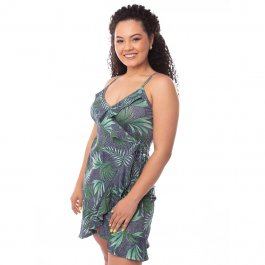 Imagem - Vestido Feminino Alça Detalhes Babado Estampado Azul Jeans