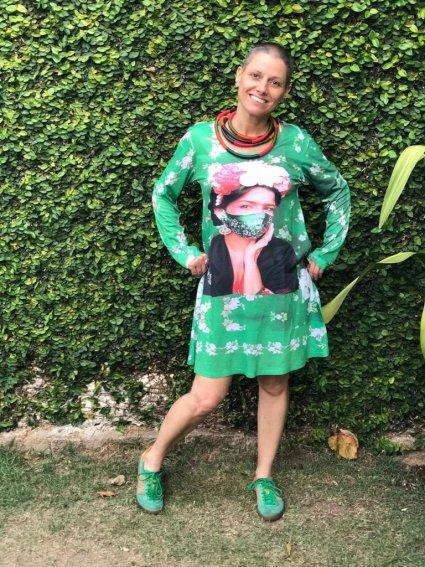 Vestido Frida Kahlo com Máscara Verde