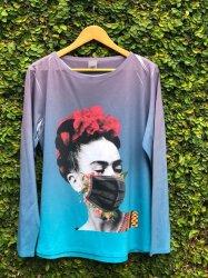 Imagem - Blusa Frida Kahlo com Máscara Azul