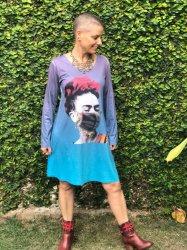 Imagem - Vestido Frida Kahlo com Máscara Azul