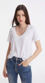 Imagem - T-shirt Decote V com Recortes Iodice