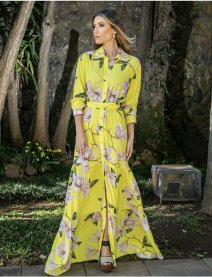 Imagem - Vestido Chemise Longo Floral