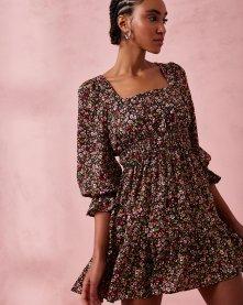 Imagem - Vestido Curto em Crepe Floral Decote Quadrado