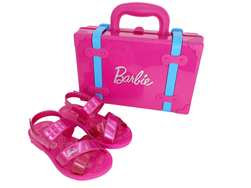 Sandália Infantil Grendene Menina Barbie com Maleta