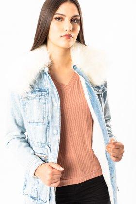Imagem - Jaqueta Feminina Visual Jeans Parka Pele