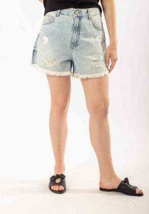 Imagem - Short Feminino Flor De Lis Jeans Hot Pants