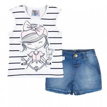 Conjunto Regata com Short Jeans Menina