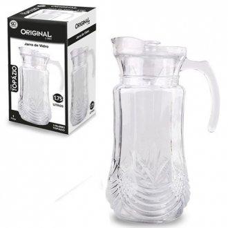 Imagem - Jarra de Vidro Relevo com Tampa de Acrilico Glass 1,75L na Caixa cód: 969