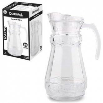 Imagem - Jarra de Vidro Relevo com Tampa de Acrilico Glass 1,9l na Caixa cód: 968