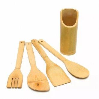 Imagem - Kit Utensílios de Bambu Para Cozinha cód: 753