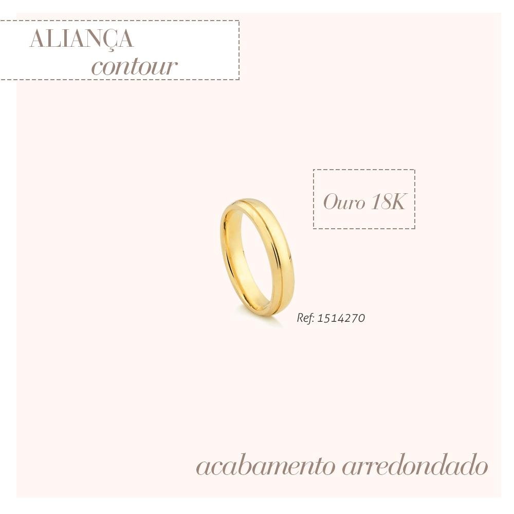 Aliança contour em ouro amarelo 18k safira