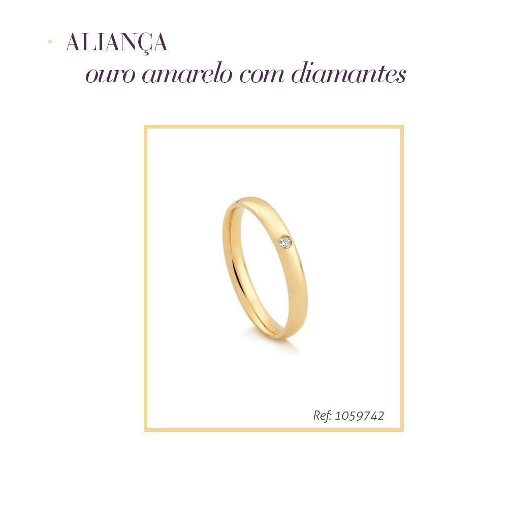 Anel de ouro amarelo com diamantes para casamento