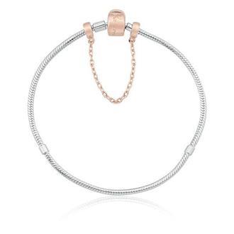 Imagem - Pulseira Prata com Fecho Rosé 19 cm + Trava de Segurança