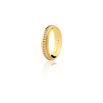 Imagem - Aliança de Ouro 18k com 45 Pontos de Diamante