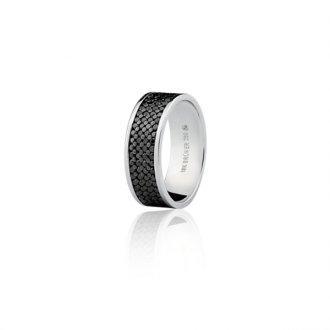 Imagem - Aliança em Ouro Branco 18k Com 154 Pontos de Diamantes Negros