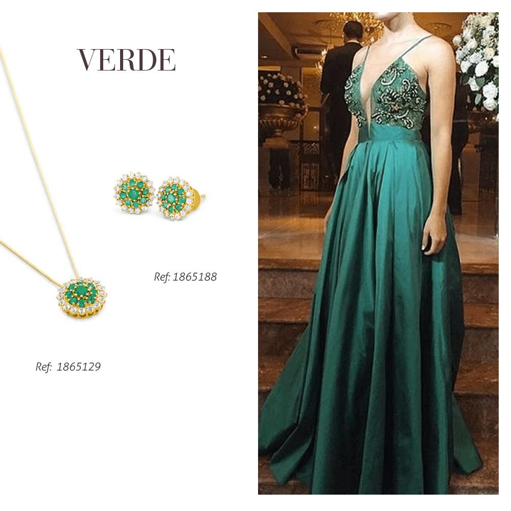 Inspiração de joia para formatura na cor verde
