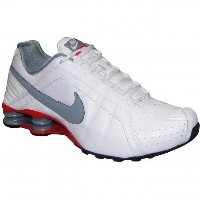 075972f7589 Tenis Nike Shox Junior 454340 107 - Branco Cinza Vermelho - Chuteira Nike