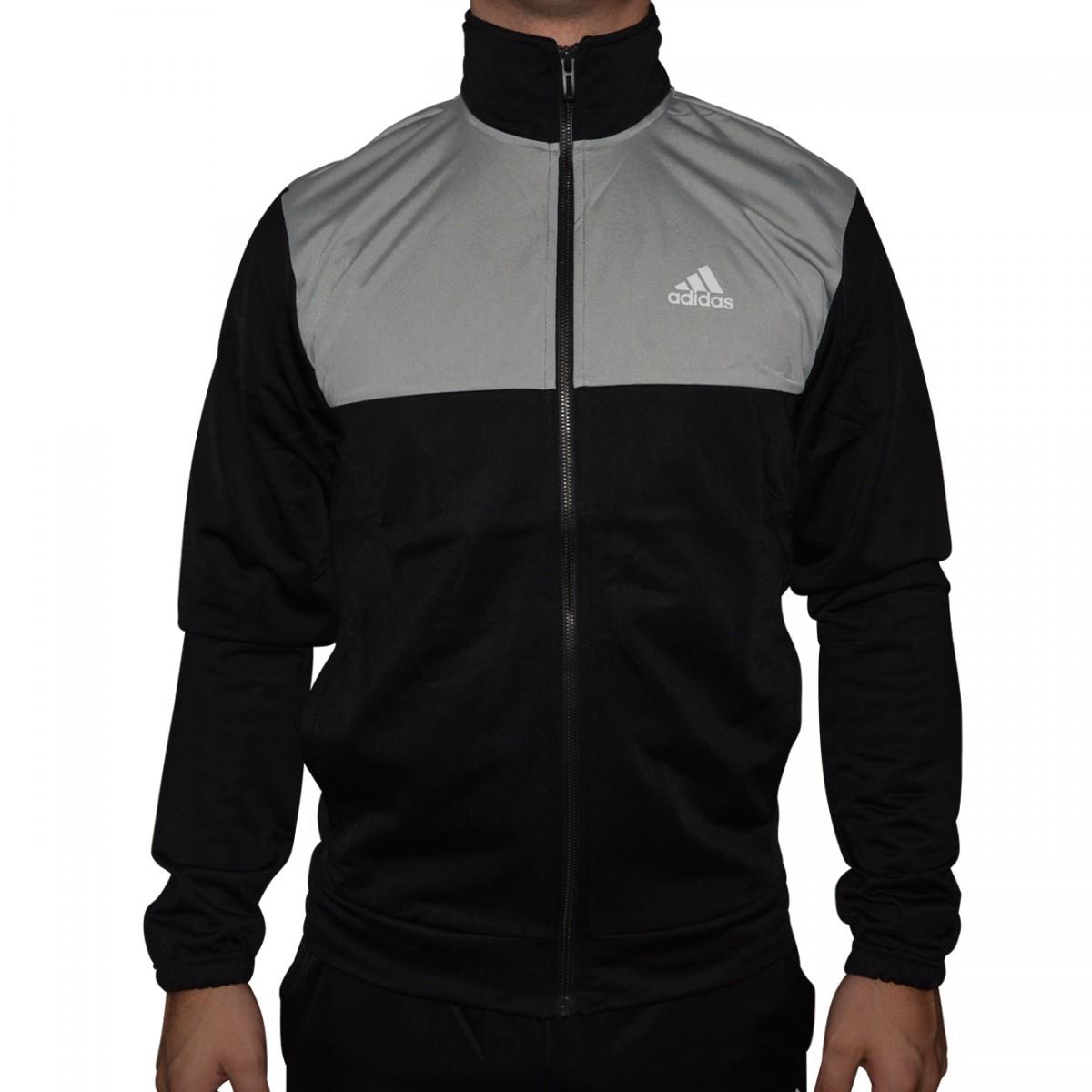 dc99c990d6c Agasalho Adidas Back2Basics TS BK4094 - Preto Cinza - Chuteira Nike ...