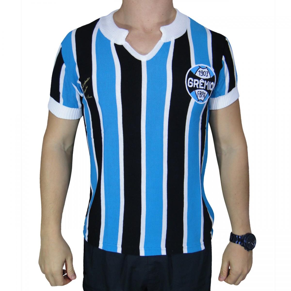 Camisa Gremio G34 Retro 1977 G3415 - Tricolor - Chuteira Nike ... b43b592d89728