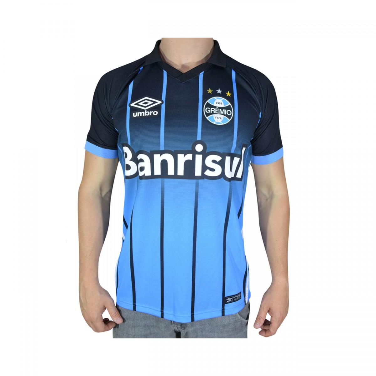 1dce6177cf601 Camisa Gremio Umbro 3 2016 Juvenil 696182 - Preto Azul Celeste Branco -  Chuteira Nike