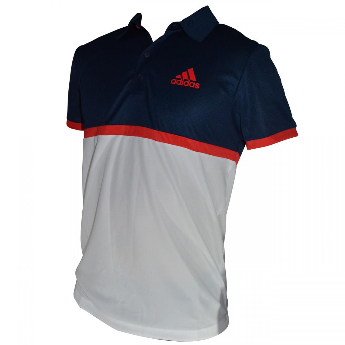 Camisa Polo Adidas Court AX8164 - Marinho Branco Vermelho - Chuteira Nike d70ba64a5886c