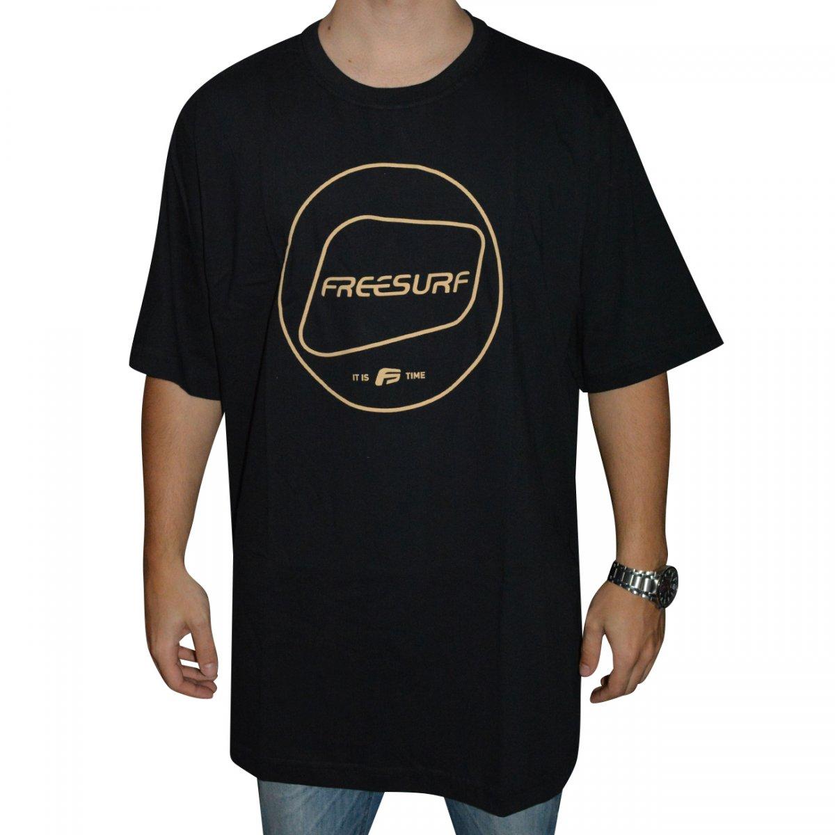 0249e042161c8 Camiseta Free Surf Basic Big Size 110406052 - Preto - Chuteira Nike,  Adidas. Sandalias Femininas. Sandy Calçados