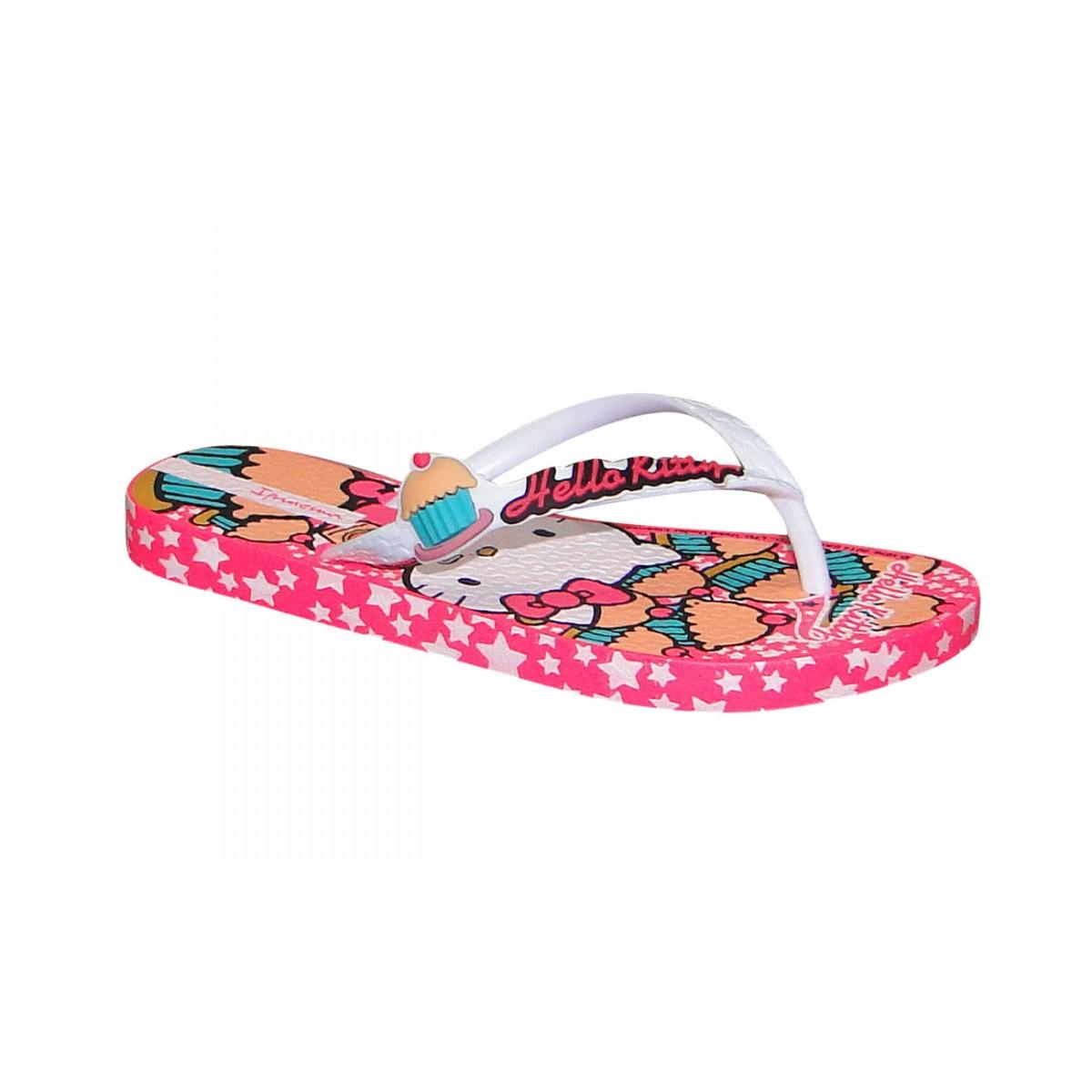 d3cd24305 Chinelo Hello Kitty 25623 Infantil 25623-23705 - Rosa/Branco ...