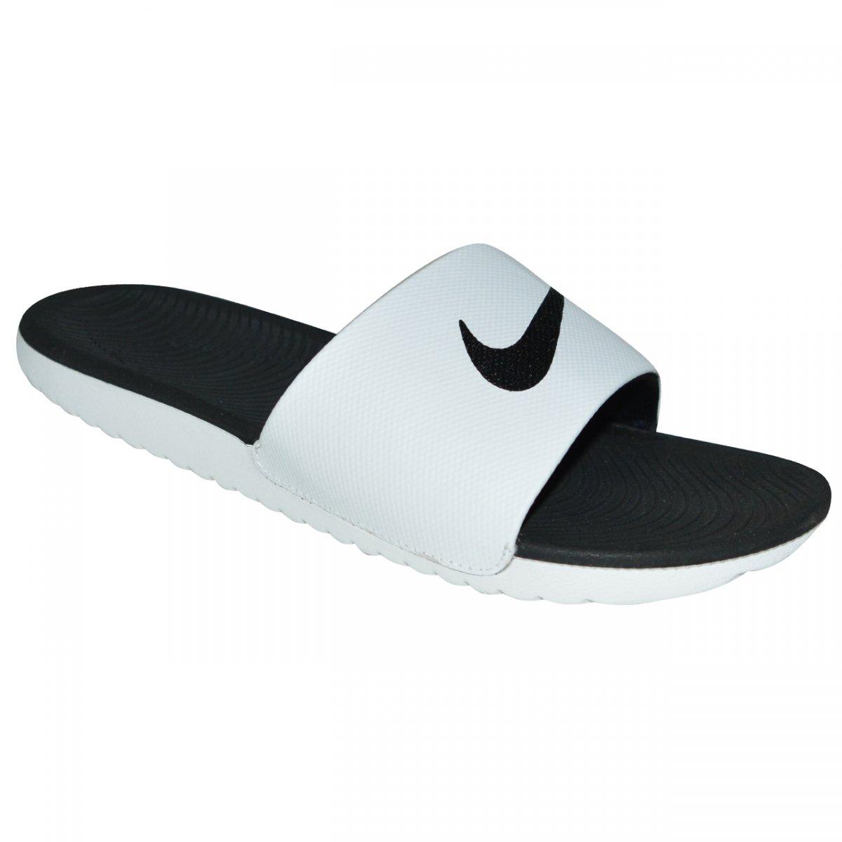 ebed083a3 Chinelo Nike Kawa Slide 832646 100 - Branco/preto - Chuteira Nike, Adidas.  Sandalias Femininas. Sandy Calçados