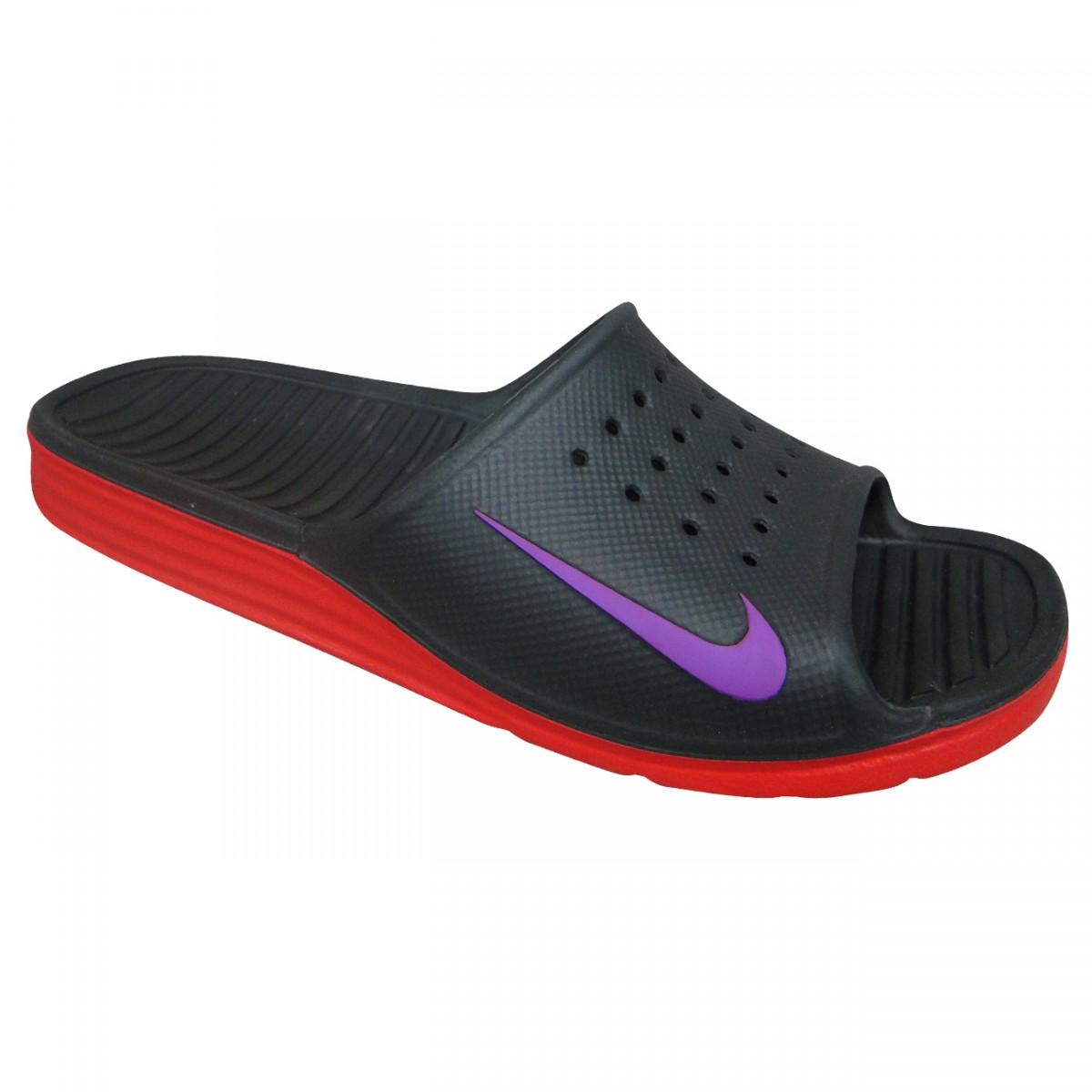a90493d7a0 Chinelo Nike Solarsoft Slide 386163 056 - Preto/Vermelho/Uva - Chuteira Nike,  Adidas. Sandalias Femininas. Sandy Calçados