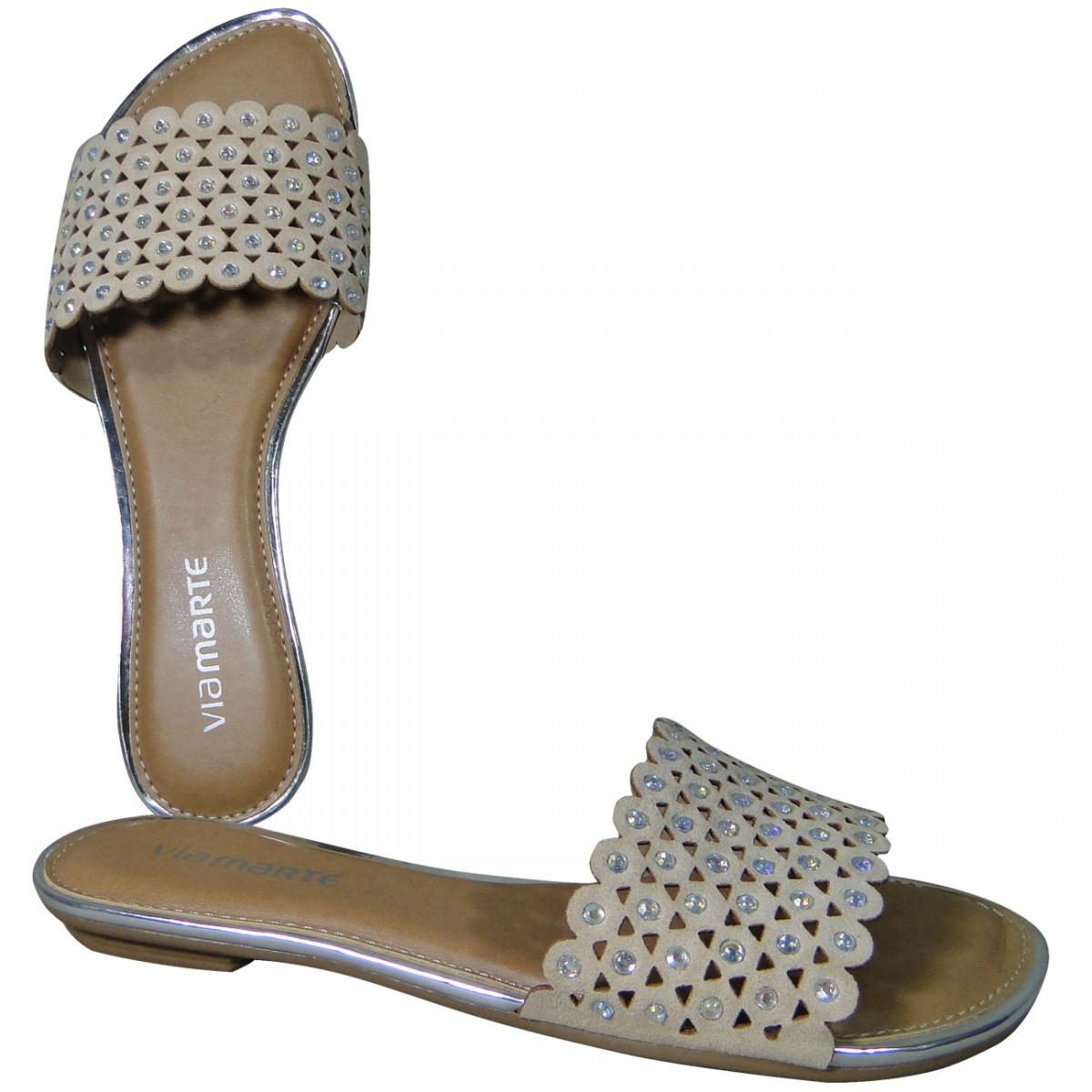 a2b2e6027 Chinelo Via Marte 16-18702 16-18702 - Pele/Prata - Chuteira Nike, Adidas.  Sandalias Femininas. Sandy Calçados